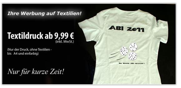 Bedrucken von Textilen wie T-Shirts etc. - Aktionsangebot in Erfurt